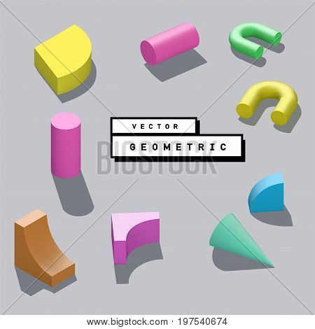 Abstract vector 3D geometric isometric shapes lying on the surface.