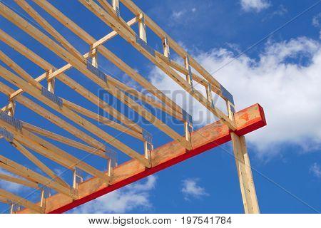 house construction wood framework structure carpentry skeleton build