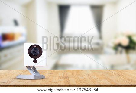CCTV camera ip camera record on blurry living room background
