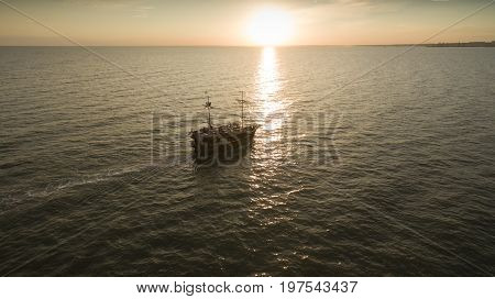 Stylish Yacht At Sunset