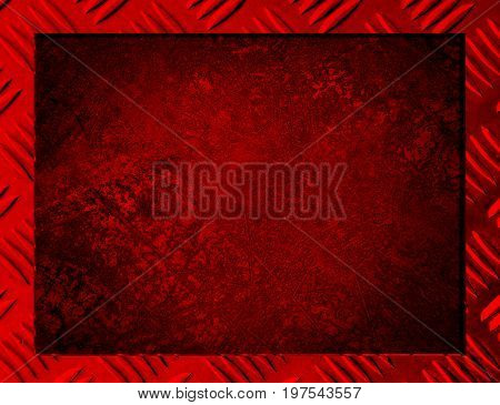 Red Metal background or frame of brushed steel plate