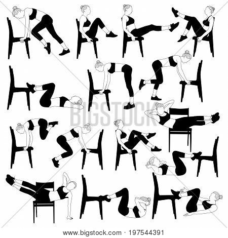 Set of beautiful young girls doing exercises at home. Young slim active woman is doing pushups from the chair. Vector illustration isolated on white background.