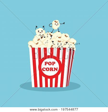 Popcorn character in box. Cartoon happy cute popcorn character for fast food design. Vector cartoon.
