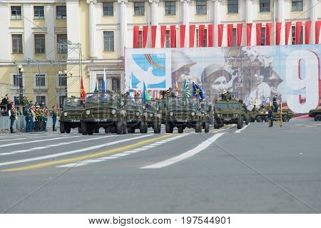 RUSSIA, SAINT-PETERSBURG - MAY 05, 2015: The military column of UAZ-469 cars goes to the Palace Square. Rehearsal of the Victory Day parade in St. Petersburg