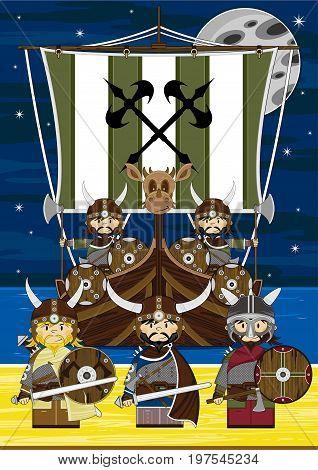 Vikings And Ship Scene