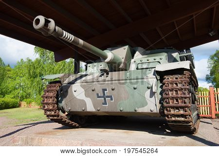 HAMINA, FINLAND - JUNE 03, 2017: Stug III Ausf G (Ps.531-8) - German self-propelled artillery installation of World War II close-up