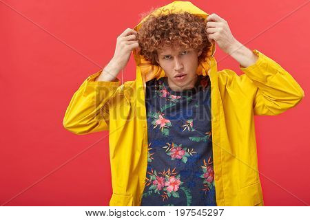 Style And Fashion Concept. Studio Shot Of Attractive Red-haired Young Male European Model Wearing St