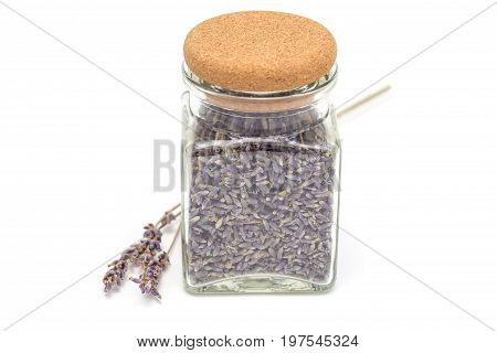 Dry lavender tea in glass jag isolated on a white background