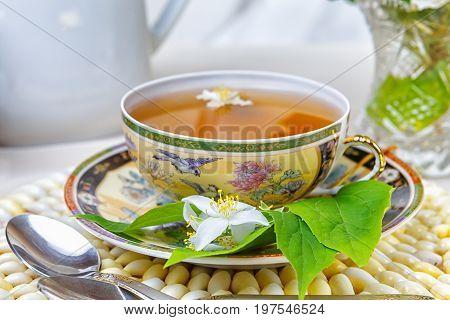 tea, Cup of tea, various kinds of tea, on the table, with jasmine, fruit tea