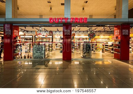 NICOSIA (LEFKOSA), CYPRUS - JULY 25,2017: Duty Free Shop in Ercan airport. Duty-free shops are retail outlets that are exempt from the payment of certain local or national taxes and duties.