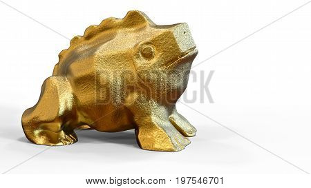 3D rendering. Golden frog. Eastern sculpture of a frog from a piece of gold. Pastiche frog. Sitting on its hind legs . Illustration of Oriental culture. Feng Shui home. A symbol of wealth.