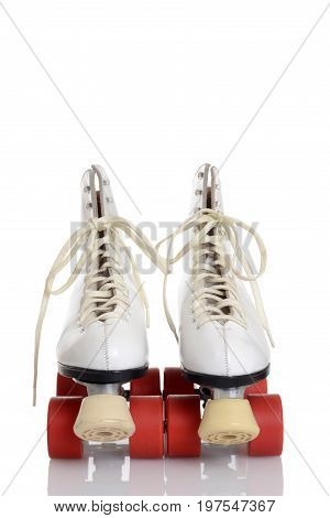 front view women white roller skates with red wheels