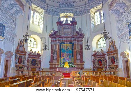 Salzburg, Austria - May 01, 2017: Interior of Salzburg Cathedral on May 01, 2017 in Salzburg Austria