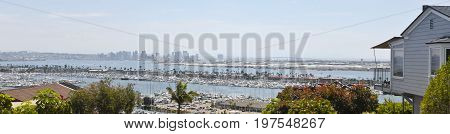 A Downtown San Diego View from Across the Bay in Point Loma, California.