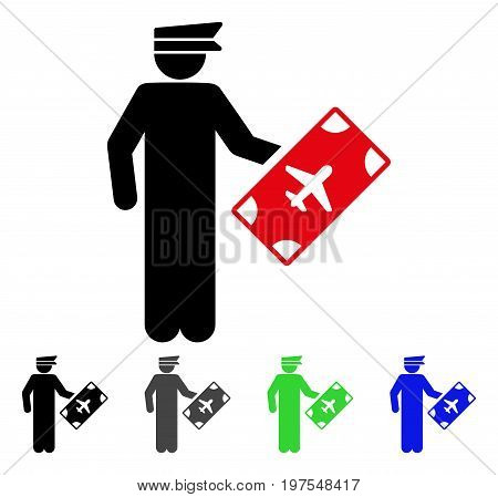 Air Officer flat vector icon. Colored air officer gray, black, blue, green icon versions. Flat icon style for graphic design.