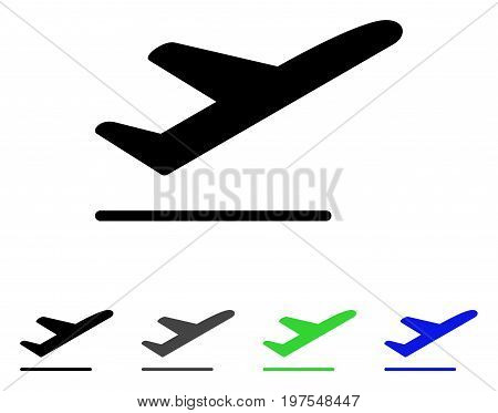 Airplane Departure flat vector pictograph. Colored airplane departure gray, black, blue, green icon variants. Flat icon style for web design.