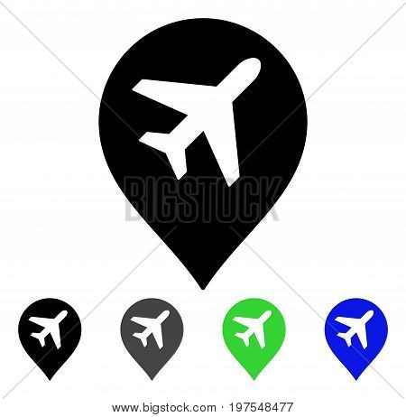 Airport Map Marker flat vector icon. Colored airport map marker gray, black, blue, green pictogram variants. Flat icon style for graphic design.