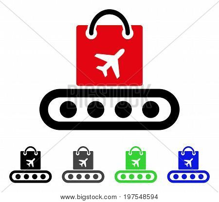 Baggage Conveyor flat vector pictogram. Colored baggage conveyor gray, black, blue, green pictogram versions. Flat icon style for application design.