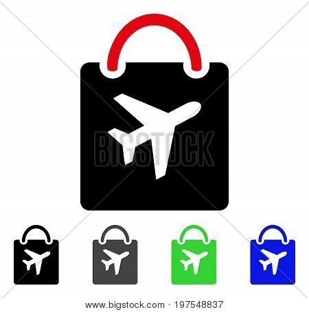 Duty Free Bag flat vector illustration. Colored duty free bag gray, black, blue, green pictogram variants. Flat icon style for web design.