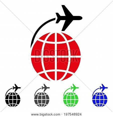 International Flight flat vector pictograph. Colored international flight gray, black, blue, green icon variants. Flat icon style for web design.