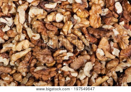 Closeup of peeled walnuts pile