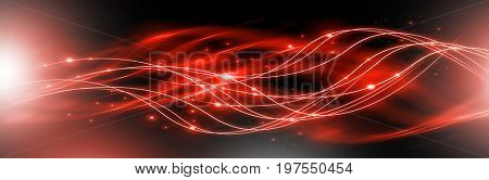Abstract background with connected lines and dots for your design. Smooth lines, beautifully intertwined, waves shining dots and flashes on a dark background