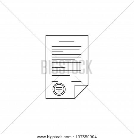 Contract line icon. Business contract with stamp