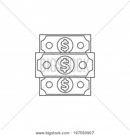 Dollar denomination linear icon. Money symbol. Win in the casino. Banking
