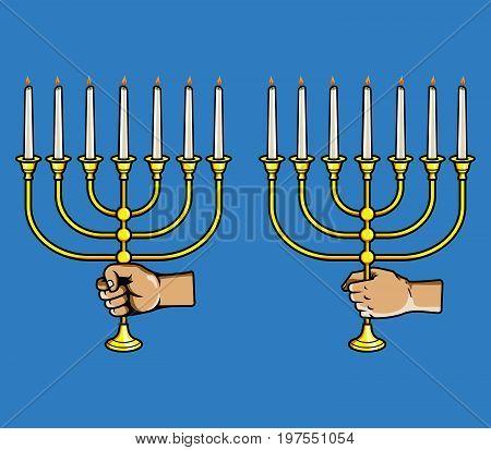 Vector illustration of hand grab jewish candle stick
