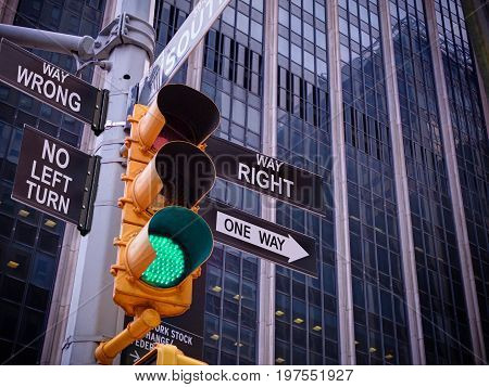 NYC Wall street yellow traffic light black pointer guide one way green light to Right way, no turn no way to wrong. Right way concept. Best choice, right choice. Wall street traffic light concept