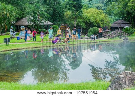 JEASON THAILAND - JULY 28 2017 : Boil egg in the mineral pool Jeason Nationpark Lampang Thailand