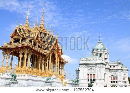 BANGKOK, THAILAND - JULY 30, 2017 : The Ananta Samakhom Throne Hall and Borom Mangkhanusoranee Throne hall are royal reception halls within Dusit Palace.