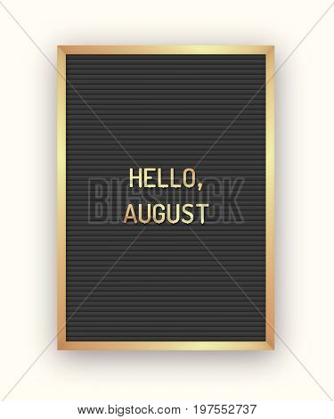 Summer Hello August lettering background with bright gradient mesh and white rectangle. Minimal printable journaling card, creative card, art print, minimal label design for banner, poster, flyer.