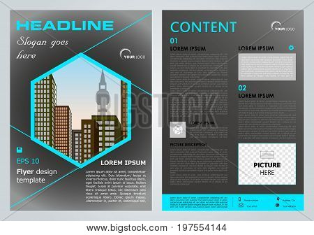 Vector Flyer, Corporate Business, Annual Report, Brochure Design And Cover Presentation With Blue He