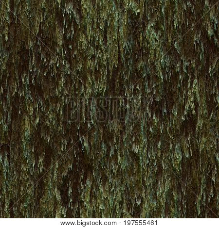 Seamless texture hanging down worn-out ripped rags green cloth or paper. Pattern of moss tree bark wood