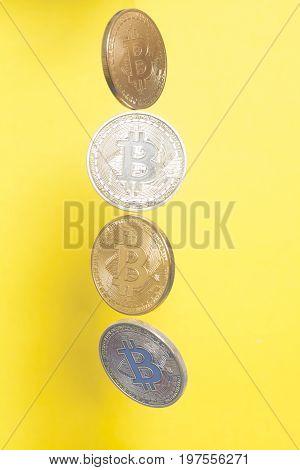 Four virtual coins bitcoins golden end silver collection .