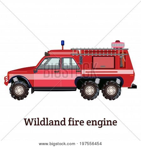 Vector illustration of wildland fire engine isolated on white background. Flat style design.