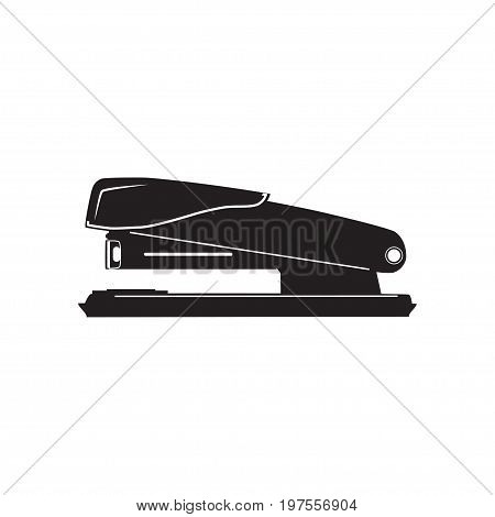 Vector illustration of office stapler. Black stapler icon in flat style.