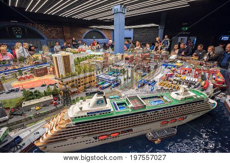 SAINT PETERSBURG, RUSSIA - JULY 1, 2017. Interior of the exhibition Grand Maket Rossiya - the largest model layout in Russia, which shows the different landmarks of Russian Federation. Saint Petersburg, Russia
