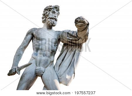 Florence ITALY - July 18 2017: The Greek Tyrantcidal statue is a copy of the statue of Aristogitone (447 b.C.) by Kritios and Nesiotes. It is located in the Boboli Garden along the main avenue.