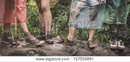 Boy and girls adventure in the national park. Travel in thailand.