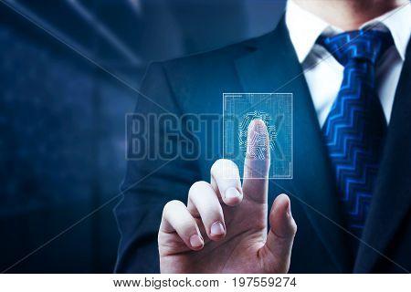 Businessman scanning finger print in dark blurry interior. Security concept. 3D Rendering