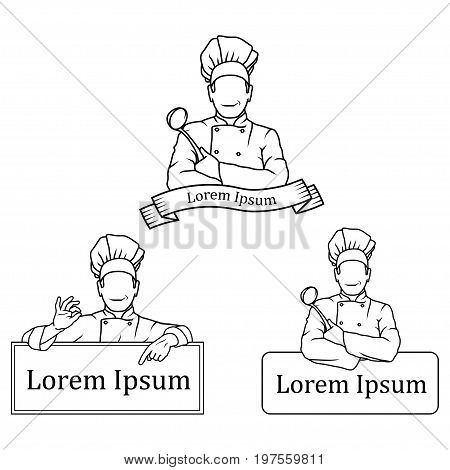 Vector illustration of a set of Chef. Logo of a man with a chef's spoon and chef in a white uniform. Chef tunic