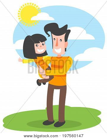 The father holds the Daughter in his arms. Illustration Father day is executed in a flat style