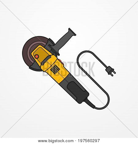 Typical electric angle grinder with wire, plug and abrasive disc. Modern isolated cutting tool in flat style. Professional power tool vector stock image.