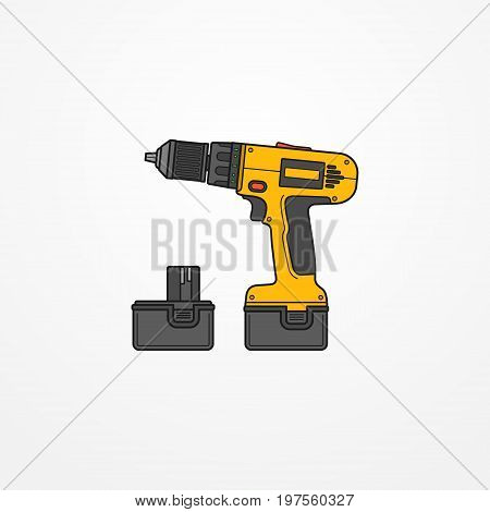 Typical electric cordless screwdriver or drill with battery. Modern isolated hand tool in flat style. Professional power tool vector stock image.