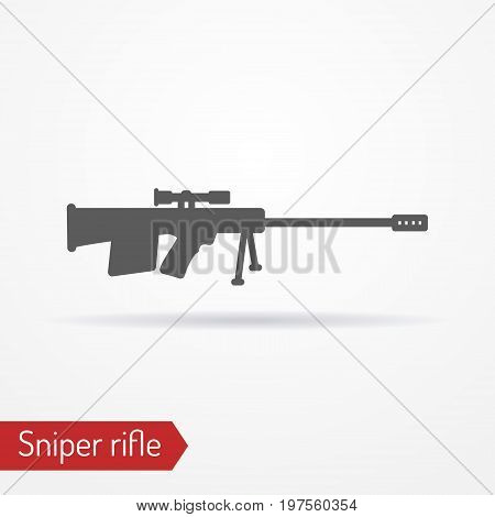 Abstract isolated sniper rifle icon in silhouette style with shadow. Typical army sharpshooter or hunter weapon. Military vector stock image.