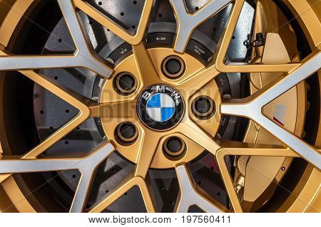 TORINO - JUN 08 2017: Showroom. Close up af a colorful Turbomeister BMW wheel and brake system