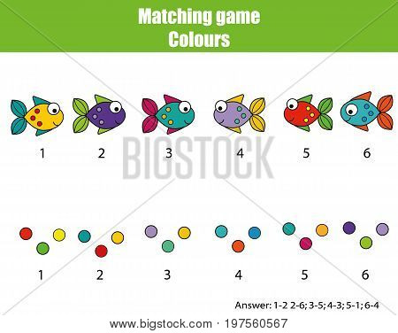 Educational children game. Matching game worksheet for kids. Match by color