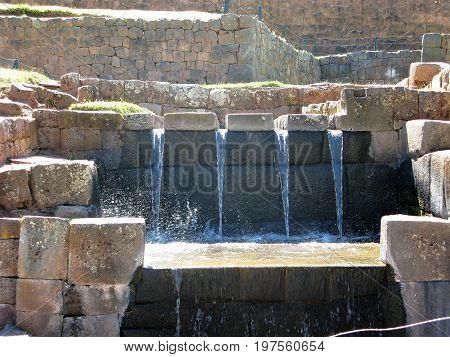 Inca water feature at Tipon near Cusco, Peru